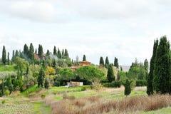 Vista panoramica del paesaggio della campagna della Toscana Immagine Stock