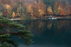 Vista panoramica del paesaggio idilliaco scenico di autunno in Baviera Fotografia Stock