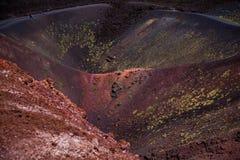 Vista panoramica del parco nazionale di Etna di paesaggio vulcanico con il cratere, Catania, Sicilia Fotografia Stock