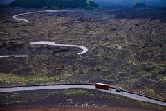 Vista panoramica del parco nazionale di Etna di paesaggio vulcanico con il cratere, Catania, Sicilia Immagini Stock