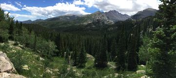 Vista panoramica del picco Longs in Rocky Mountain National Park Fotografia Stock
