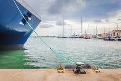 Vista panoramica del porto dell'yacht in Pacha, Isole Baleari immagine stock