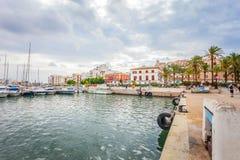 Vista panoramica del porto dell'yacht in Pacha, Isole Baleari fotografia stock