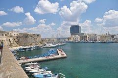 Vista panoramica del porto di Gallipoli, Italia Immagine Stock