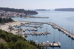 Vista panoramica del porto e del mare fotografia stock