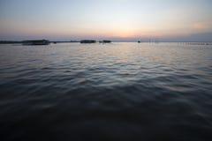 Vista panoramica del tramonto sul Lake Maracaibo, Venezuela Fotografia Stock