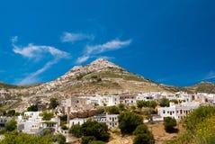 Vista panoramica del villaggio tradizionale sull'isola di Naxos Fotografie Stock Libere da Diritti