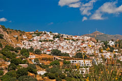 Vista panoramica del villaggio tradizionale sull'isola di Naxos Fotografia Stock