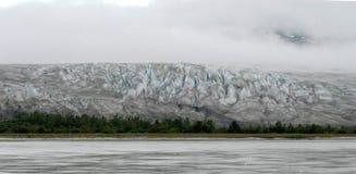 Vista panoramica dell'Alaska del ghiacciaio e delle foreste dalla barca d'accelerazione fotografia stock libera da diritti