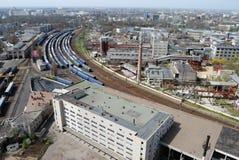 Vista panoramica dell'iarda della ferrovia Immagine Stock Libera da Diritti