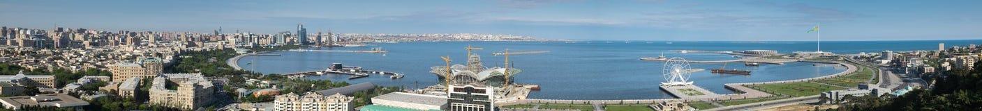 Vista panoramica della baia di Bacu l'azerbaijan immagine stock libera da diritti