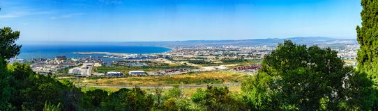 Vista panoramica della baia di Haifa immagini stock