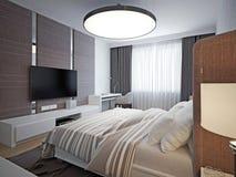 Vista panoramica della camera da letto accogliente piacevole Fotografie Stock Libere da Diritti