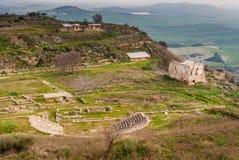 Vista panoramica della città del greco antico di Morgantina, in Sicilia Immagini Stock
