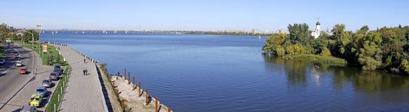 Vista panoramica della città di Dnipropetrovsk Fotografia Stock Libera da Diritti
