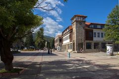 Vista panoramica della città di Etropole, Sofia Province, Bulgaria Immagine Stock Libera da Diritti