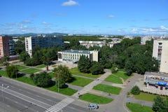 Vista panoramica della città di Komsomol'sk-na-Amure, Russia Fotografie Stock Libere da Diritti