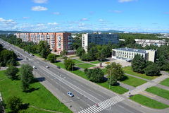 Vista panoramica della città di Komsomol'sk-na-Amure, Russia Fotografie Stock