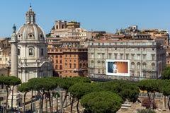 Vista panoramica della città di Roma dal tetto dell'altare della patria, Italia Fotografia Stock Libera da Diritti