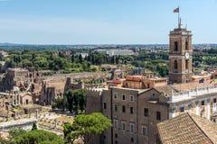 Vista panoramica della città di Roma dal tetto dell'altare della patria, Italia Fotografie Stock Libere da Diritti