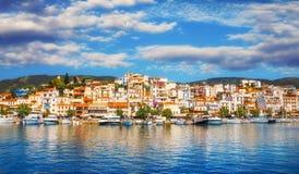 Vista panoramica della città di Skiathos Fotografie Stock
