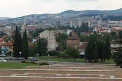 Vista panoramica della città di Stara Zagora, Bulgaria fotografia stock