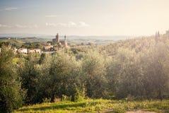 Vista panoramica della città di Vinci, al tramonto, in Toscana, l'Italia immagine stock