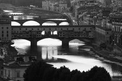 Vista panoramica della città Ponte Vecchio fotografia stock libera da diritti