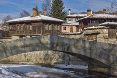 Vista panoramica della città storica di Koprivshtitsa, Sofia Region Fotografia Stock