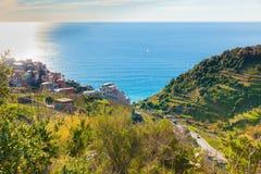 Vista panoramica della costa della Liguria di Vernazza fotografia stock