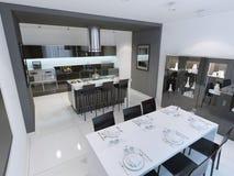 Vista panoramica della cucina moderna e minimalista Immagini Stock