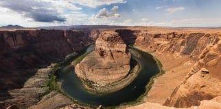 Vista panoramica della curvatura a ferro di cavallo in Arizona S.U.A. Fotografia Stock Libera da Diritti