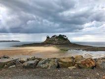 Vista panoramica della linea costiera della Bretagna, Francia fotografia stock