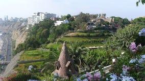 Vista panoramica della linea costiera di Barranco di Lima Fotografia Stock Libera da Diritti