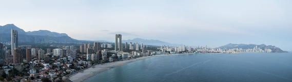 Vista panoramica della linea costiera di Benidorm, Spagna Fotografia Stock Libera da Diritti