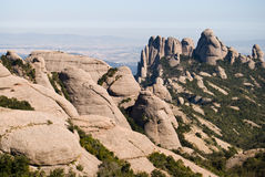 Vista panoramica della montagna del Montserrat Fotografia Stock Libera da Diritti