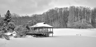 Vista panoramica della pagoda giapponese nella neve Fotografia Stock Libera da Diritti