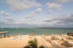 Vista panoramica della spiaggia della vista del boa dell'isola, Capo Verde Fotografia Stock