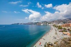 Vista panoramica della spiaggia di Almuñécar Almunecar Immagini Stock Libere da Diritti