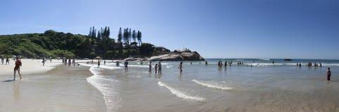 Vista panoramica della spiaggia di Joaquina Florianopolis - nel Brasile Fotografie Stock Libere da Diritti