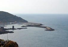 Vista panoramica della spiaggia e del mare di cristallo della Sardegna Immagini Stock