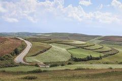 Vista panoramica della terra rossa di DongChuan, uno dei punti di riferimento nella provincia di Yunnan, la Cina Immagini Stock