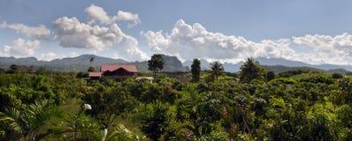 Vista panoramica della vista della casa, dell'albero, della montagna e del cielo nuvoloso di Chiangmai Tailandia Fotografia Stock