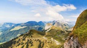 Vista panoramica delle alpi dal Rochers de Naye, Svizzera Fotografia Stock