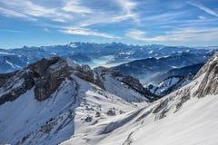 Vista panoramica delle alpi della Svizzera Fotografie Stock Libere da Diritti