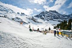 Vista panoramica delle alpi di Urner Fotografie Stock