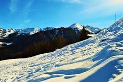 Vista panoramica delle alpi e della neve svizzere Fotografie Stock