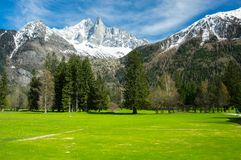 Vista panoramica delle alpi francesi Immagine Stock