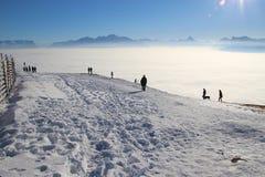 Vista panoramica delle alpi in inverno L'Austria, Europa Immagine Stock
