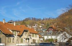 Vista panoramica delle Camere in Thun e montagne Fotografie Stock